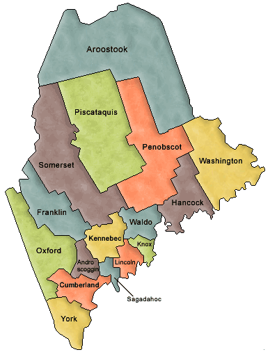 Maine Military School Yearbooks By County - Maine county map